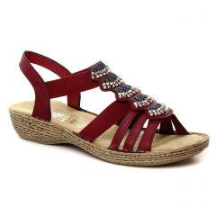 sandales rouge bordeaux: même style de chaussures en ligne pour femmes que les Rieker