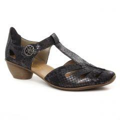 Chaussures femme été 2019 - trotteurs-babies rieker gris noir