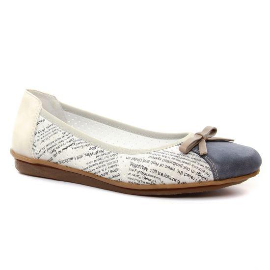 8e60ed918bbdf7 Ballerines Rieker 43950-15 Jeans Ice, vue principale de la chaussure femme.  ballerines beige bleu ...