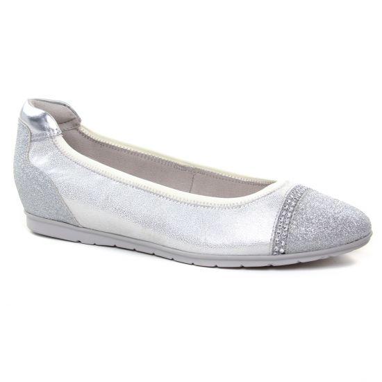Tamaris 22109 White | ballerine confort gris argent