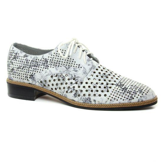 Chaussures À Lacets Mamzelle Selya Blanc Floral, vue principale de la chaussure femme