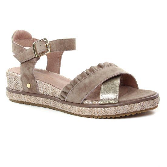 035da04882b544 Nu Pieds Et Sandales Mamzelle Soleil Creme Taupe, vue principale de la  chaussure femme. nu-pieds compensés beige doré mode femme printemps été ...