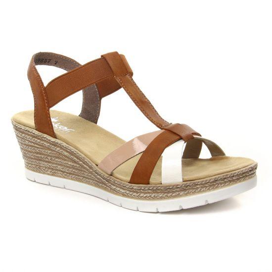 Nu Pieds Et Sandales Rieker 61995-81 Blanco Cayenne, vue principale de la chaussure femme