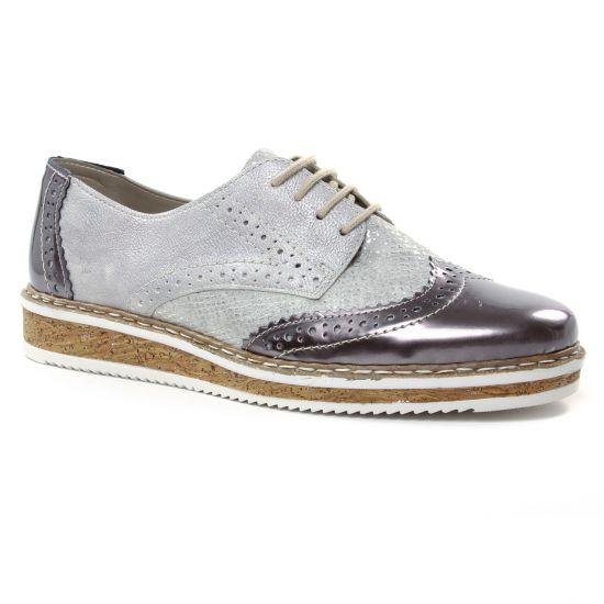 Chaussures À Lacets Rieker N0312-91 Silver Platine, vue principale de la chaussure femme