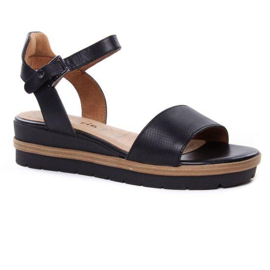 Tamaris 28328 Black | nu pied compensés noir printemps été