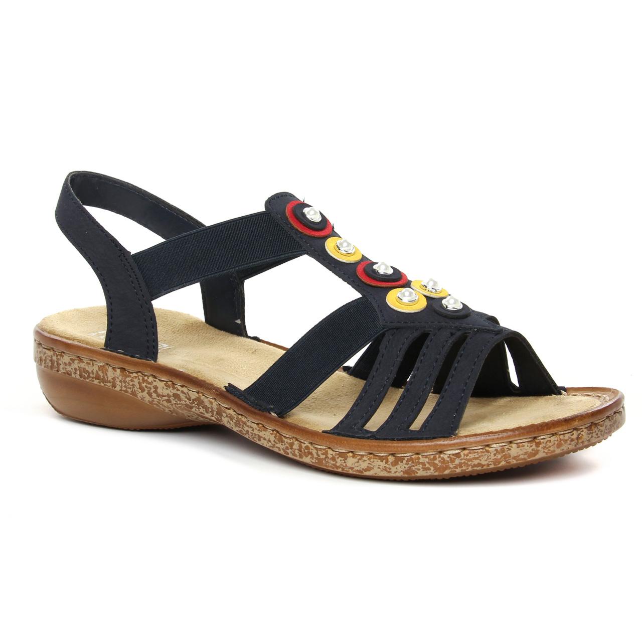 Rieker 628L1 14 Pazifik | sandales bleu marine printemps été