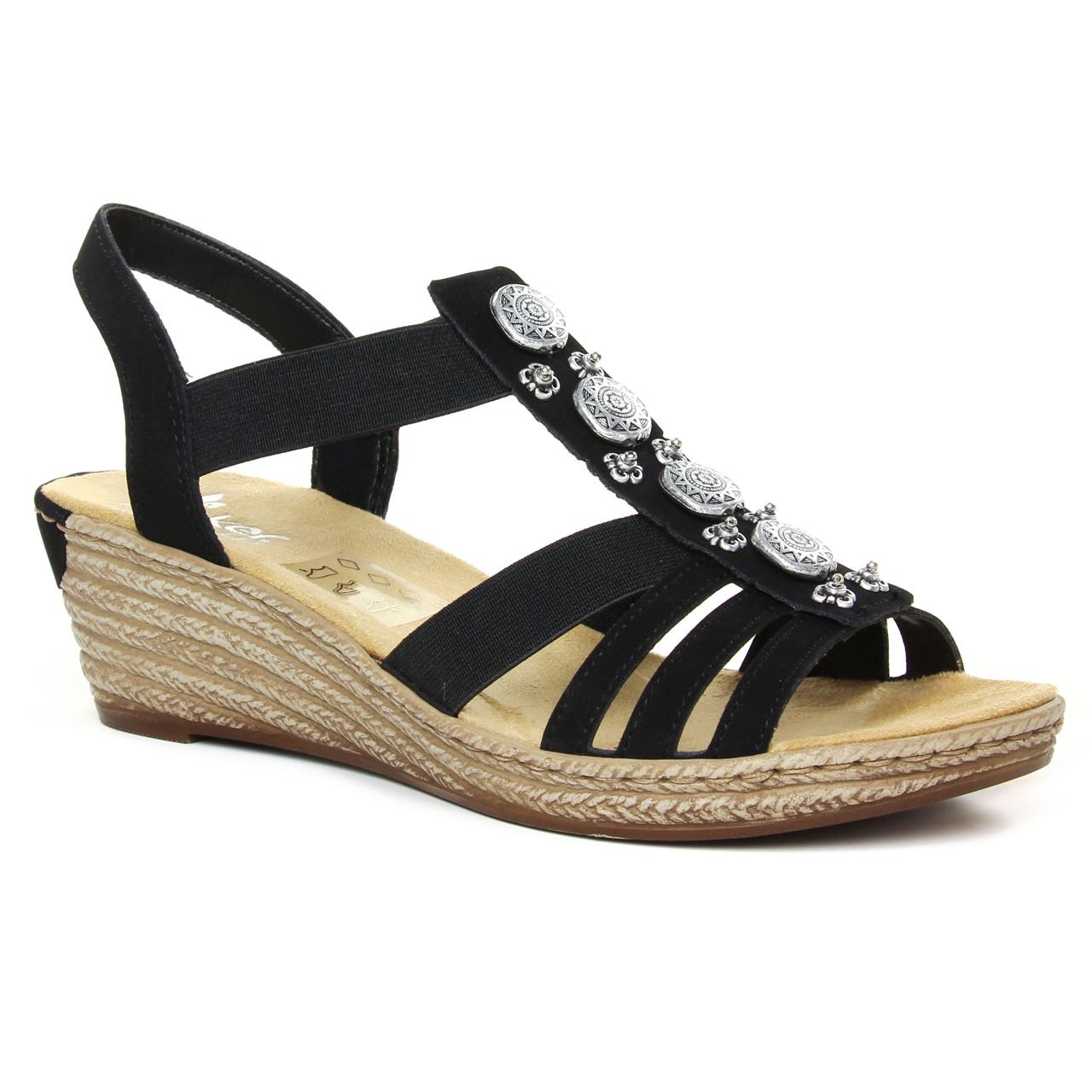 Rieker 624B4 00 Noir   sandale compensées noir printemps été
