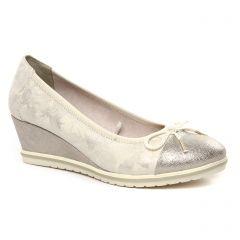 Chaussures femme été 2020 - ballerines compensées tamaris beige métal