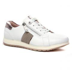Chaussures femme été 2020 - baskets mode tamaris blanc bronze