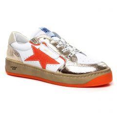 Chaussures femme été 2020 - tennis Semerdjian blanc orange
