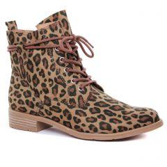 Chaussures femme été 2020 - bottines à lacets marco tozzi beige léopard