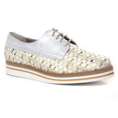 Chaussures femme été 2020 - derbys compensées Dorking beige argent