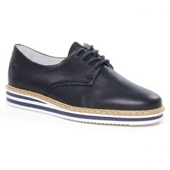 Chaussures femme été 2020 - derbys compensées rieker bleu marine