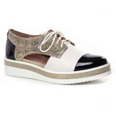 Chaussures femme été 2020 - derbys compensées Mamzelle noir blanc doré