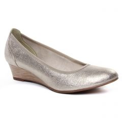 Chaussures femme été 2020 - ballerines compensées tamaris beige doré