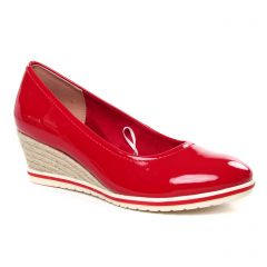 Chaussures femme été 2020 - escarpins compensées tamaris rouge vernis