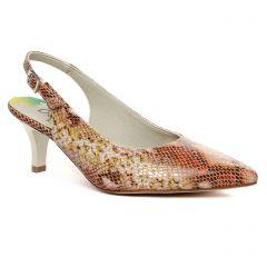 Chaussures femme été 2020 - escarpins Dorking marron python