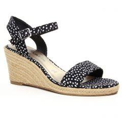 Chaussures femme été 2020 - espadrilles compensées tamaris noir blanc