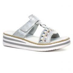 mules_compensees gris argent: même style de chaussures en ligne pour femmes que les Les Tropéziennes
