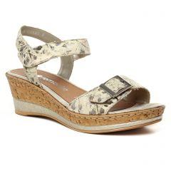 nu-pieds-talons-compenses beige: même style de chaussures en ligne pour femmes que les Remonte