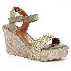 nu-pieds-talons-compenses vert doré: même style de chaussures en ligne pour femmes que les Tamaris