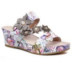 nu-pieds-talons-compenses blanc multi: même style de chaussures en ligne pour femmes que les Laura Vita