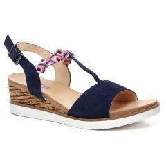nu-pieds-talons-compenses bleu: même style de chaussures en ligne pour femmes que les Fugitive