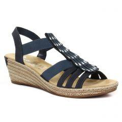 nu-pieds-talons-compenses bleu: même style de chaussures en ligne pour femmes que les Rieker