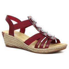 nu-pieds-talons-compenses bordeaux: même style de chaussures en ligne pour femmes que les Rieker