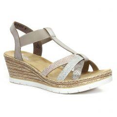 Rieker 61995-64 Fango Silver : chaussures dans la même tendance femme (nu-pieds-talons-compenses gris argent) et disponibles à la vente en ligne