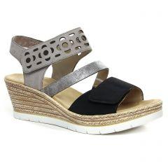 nu-pieds-talons-compenses gris noir: même style de chaussures en ligne pour femmes que les Rieker