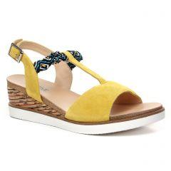 Chaussures femme été 2020 - nu-pieds compensés fugitive jaune
