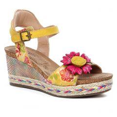 Chaussures femme été 2020 - nu-pieds compensés Laura Vita jaune multi