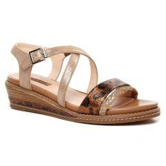 Chaussures femme été 2020 - sandales compensées fugitive marron doré