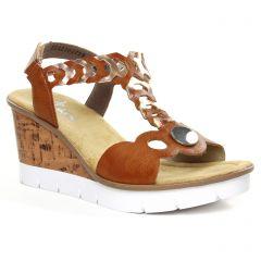 nu-pieds-talons-compenses marron doré: même style de chaussures en ligne pour femmes que les Rieker