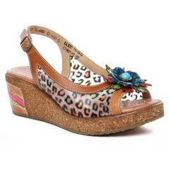 nu-pieds-talons-compenses marron multi: même style de chaussures en ligne pour femmes que les Laura Vita