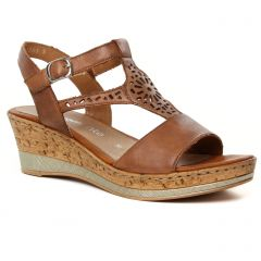 nu-pieds-talons-compenses marron: même style de chaussures en ligne pour femmes que les Remonte