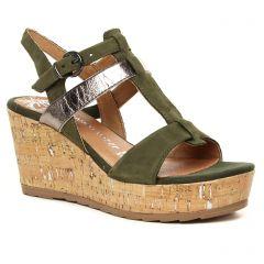 Chaussures femme été 2020 - nu-pieds compensés marco tozzi vert kaki