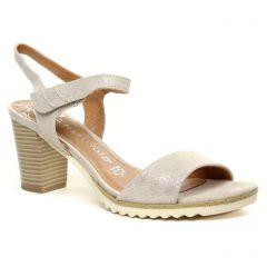 nu-pieds-talon beige argent: même style de chaussures en ligne pour femmes que les Marco Tozzi