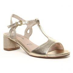 nu-pieds-talon biege doré: même style de chaussures en ligne pour femmes que les Tamaris