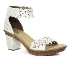 nu-pieds-talon blanc: même style de chaussures en ligne pour femmes que les Rieker