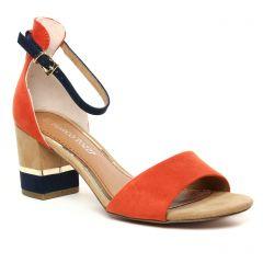 Chaussures femme été 2020 - nu-pieds talon marco tozzi orange