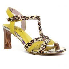 Chaussures femme été 2020 - nu-pieds talons hauts Laura Vita jaune multi