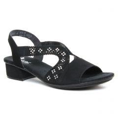 nu-pieds-trotteurs noir velours: même style de chaussures en ligne pour femmes que les Rieker