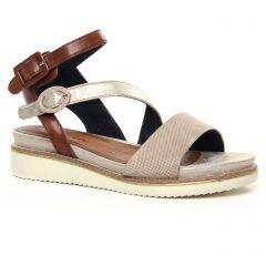 nu-pieds-talons-compenses beige argent: même style de chaussures en ligne pour femmes que les Tamaris