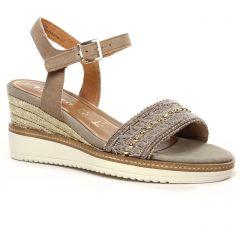 Chaussures femme été 2020 - sandales compensées tamaris beige doré
