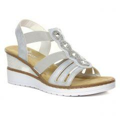 nu-pieds-talons-compenses gris argent: même style de chaussures en ligne pour femmes que les Rieker
