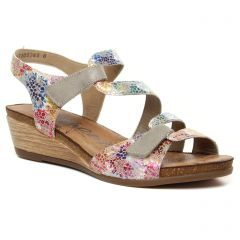 nu-pieds-talons-compenses gris multi: même style de chaussures en ligne pour femmes que les Tamaris