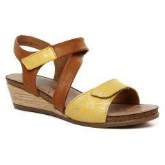 sandales-compensees marron jaune: même style de chaussures en ligne pour femmes que les Remonte