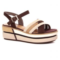 sandales-compensees marron multi: même style de chaussures en ligne pour femmes que les Les Tropéziennes